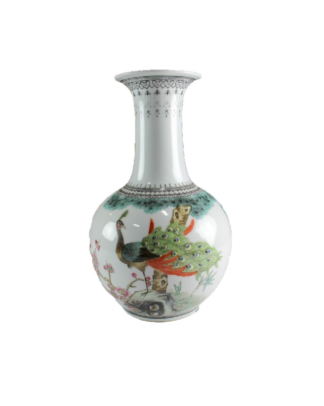 Vintage Long Neck Vase With Peacock Vases Decorative Objects