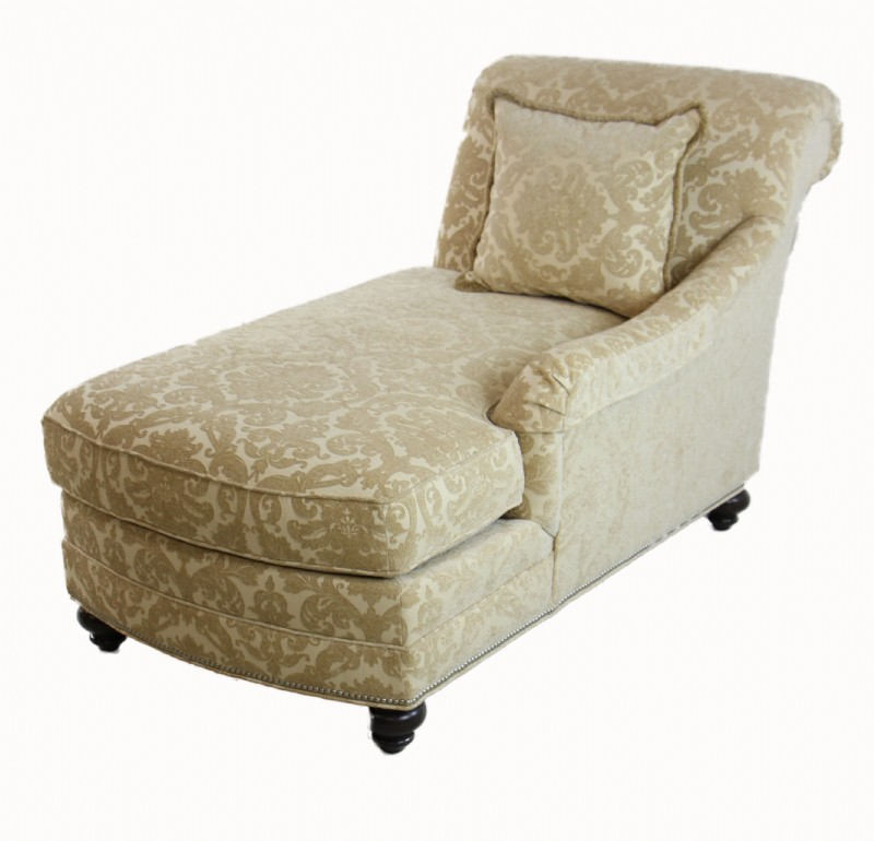 Lovely ... Chaise Lounge Made By Ethan Allen. It Has A Golden Yellow Fabric With A  Pattern And Has Silver Nailheads Along Its Bottom Border.