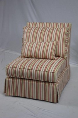 Striped Upholstered Side Chair