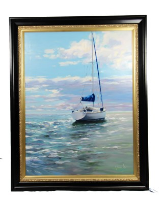 Oil painting of small sail boa