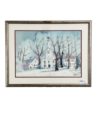 Watercolor Church Print