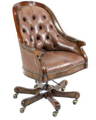 M-S Brown Leather Desk Chair