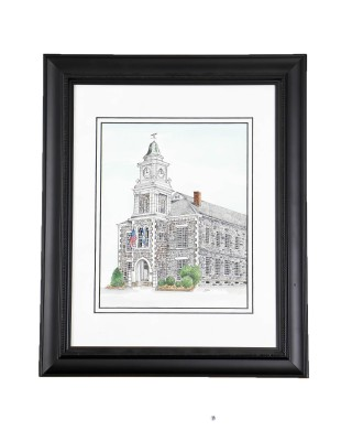 Framed Watercolor of Connecticut Building