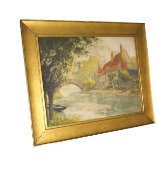 Antique Cottage and Bridge Scene