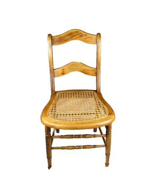 Wave Back Inlaid Cane Chair