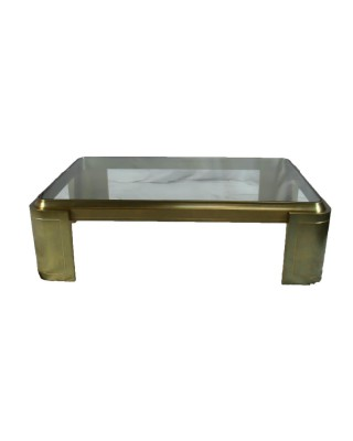 Heavy Brass Base Glass Coffee Table