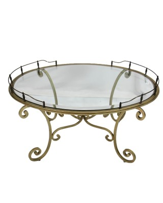 Bevelled Glass and Steel Coffee Table