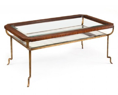 Cocktail Table- Glass & Rosewood (Priced As Is)