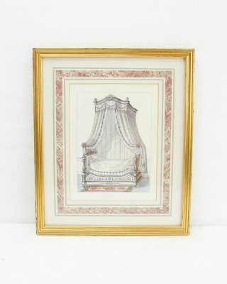 artwork victorian table/drapery scene