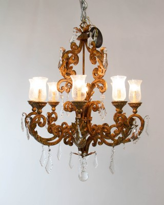 Distressed Gold and Crystal Leaf Chandelier