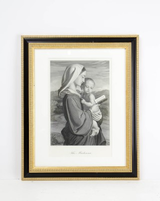 Print of Pencil Sketch Entitled The Madonna