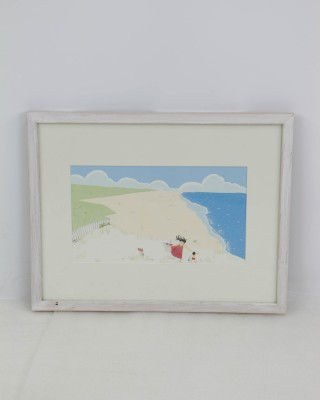 Framed Beach Scene Watercolor