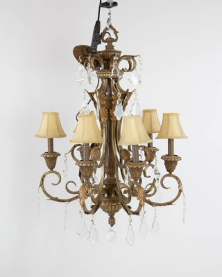 Acanthus Leaf and Crystal 6 Arm Chandelier