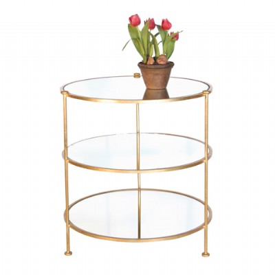 Gold Three Tiered End Table