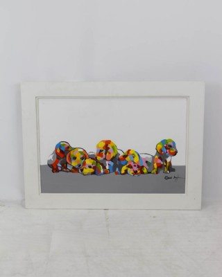 Colorful Puppy Litter Painting