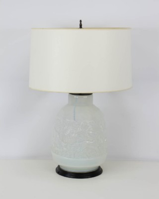Vintage Off White Glass Table Lamp
