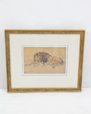"Framed ""A Lion Lying Down"" Lithograph"