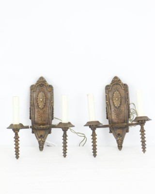Pair of Casted Brass Double Arm Sconces