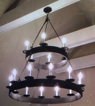 Black Metal Two Tiered Chandelier
