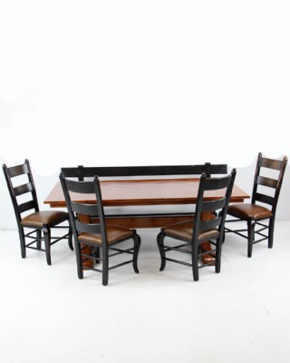 Bausman Trestle Dining Table, Chairs and Bench