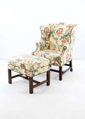 Floral Wing Chair and Ottoman
