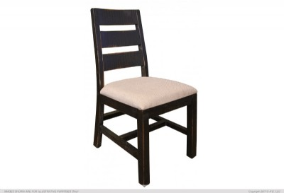 Black Finish Chair with Fabric Seat