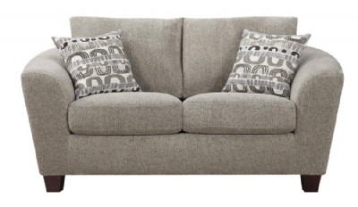Bone Loveseat with 2 Accent Pillows
