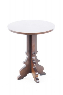 Round Brown Wooden Occasional Table