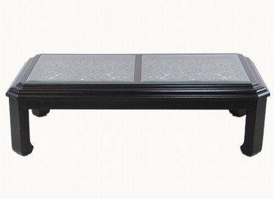 Black Coffee Table W/ Bevelled Glass Top