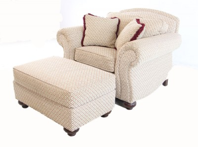 Upholstered Arm Chair & Ottoman