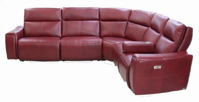 Red Leather Reclining Sectional