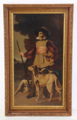 French Hunter with Three Dogs- Oil