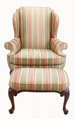 Queen Anne Wing Back Chair & Ottoman (PRICED AS IS
