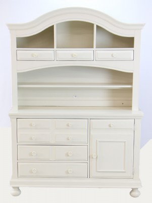 White Painted Barrel Top Hutch
