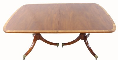 Inlaid Mahogany Double Pedestal Dining Table