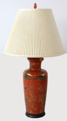 Coral Colored Asian Influenced Table Lamp