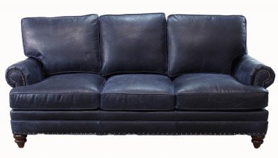 Stationary Leather Sofa with Nailheads
