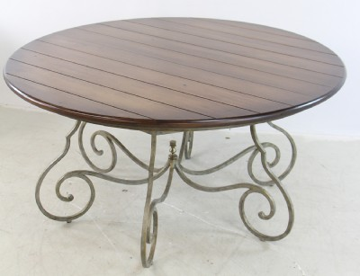 Round Wooden Dining Table with Ornated Metal Base