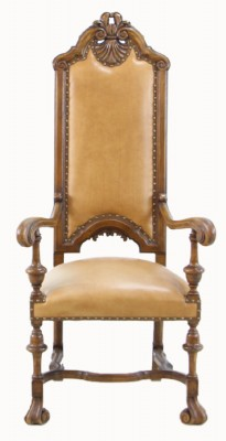 Unique Tan Leather Victorian Style Arm Chair