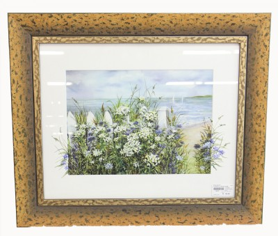 Flowers at a Seaside Scene Lithograph By Waldman
