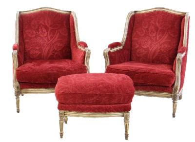 French Bergere Chair & Ottoman