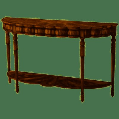 FLAME VENEERED CONSOLE TABLE.