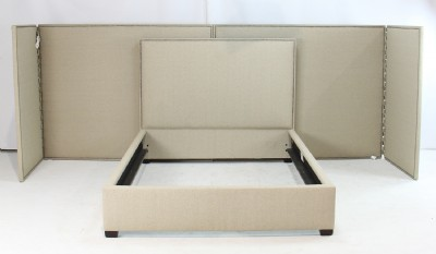 Queen Upholstered Wall/Screen Bed with Panels