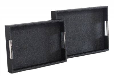 SET OF 2 RECTANGLE TRAY SETS IN BLACK W/SILVER HAN