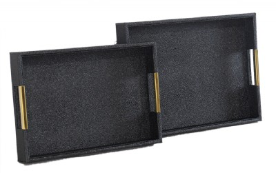 SHAGREEN BLCK W/GOLD HANDLE SET OF 2 TRAYS