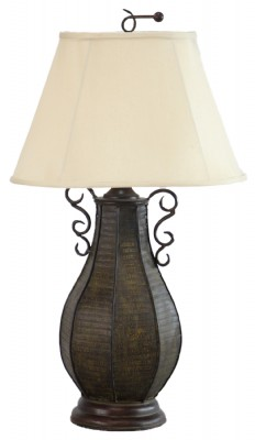 Gourd Like Metal Lamp with Off White Shade