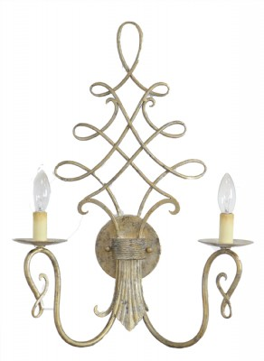 Two Light Metal Scroll Wall Sconce