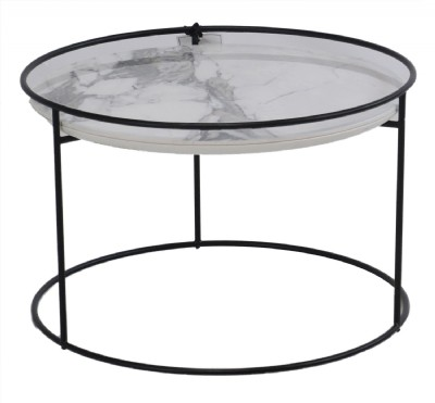 Atollo White Marble and Black Metal Table