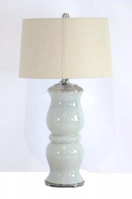 Teal Colored Crackle Finish Lamp