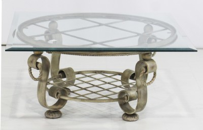Beveled Glass Top Metal Base Cocktail Table